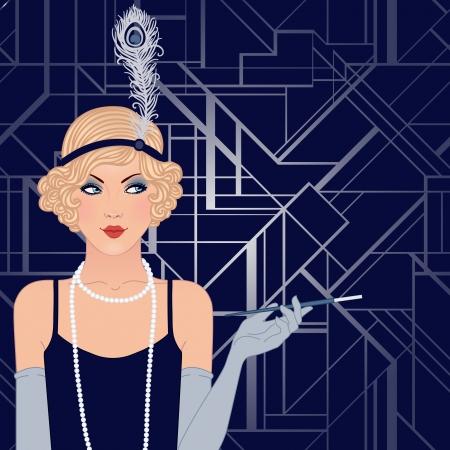 30s: Flapper girl: Retro party invitation design. Vector illustration. Illustration