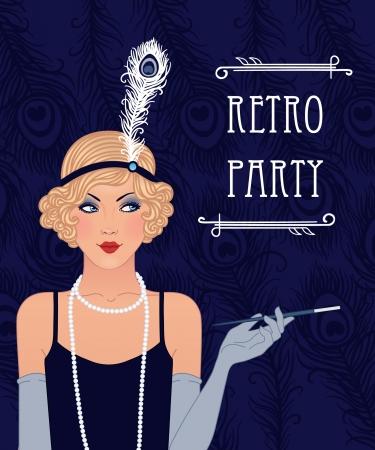 full length woman: Flapper girl: Retro party invitation design. Vector illustration. Illustration