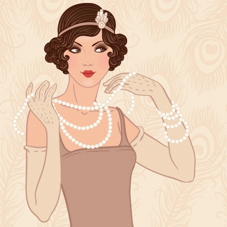 Flapper girl: Retro party invitation design. Vector illustration. Vector