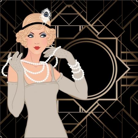 フラッパー女の子: レトロなパーティーの招待状のデザイン。ベクトル イラスト。 写真素材 - 24580076