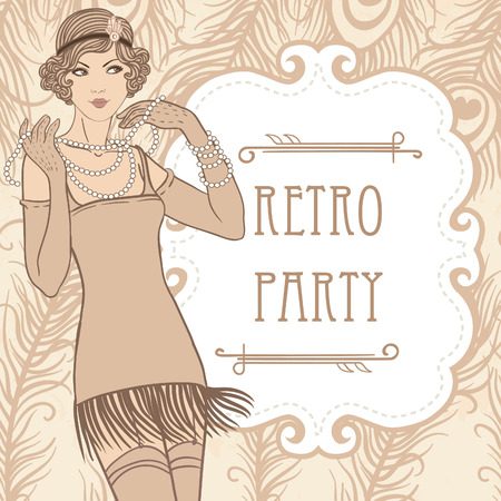Flapper girl: Retro party invitation design. Vector illustration. Illustration