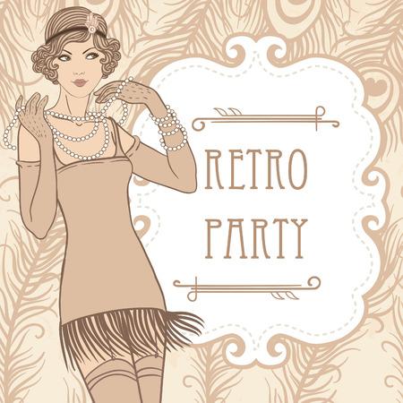 Flapper ragazza: Retro disegno dell'invito del partito. Illustrazione vettoriale. Archivio Fotografico - 24580073