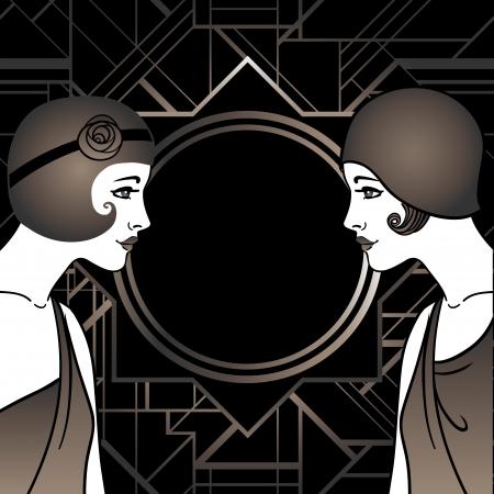 entwurf: Flapper Mädchen: Retro-Partyeinladung Design. Vektor-Illustration.