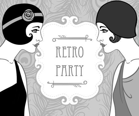 twenties: Flapper girl: Retro party invitation design. Vector illustration.
