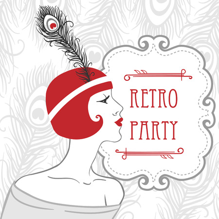 charleston: Flapper girl: Retro party invitation design. Vector illustration.