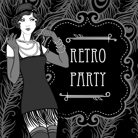 Flapper girl set: Retro party invitation design in 20s style  Vector