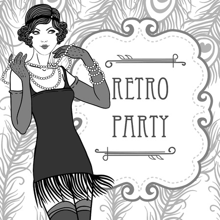 Flapper girls set: retro party invitation design in 20s style  Illustration