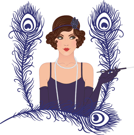 '20s': Flapper girl: Retro party invitation design. Vector illustration. Illustration