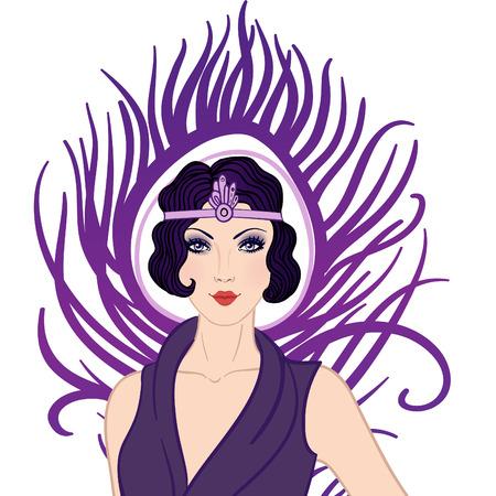 flapper: Chica de la aleta: Diseño invitación de la fiesta retro, ilustraciones vectoriales