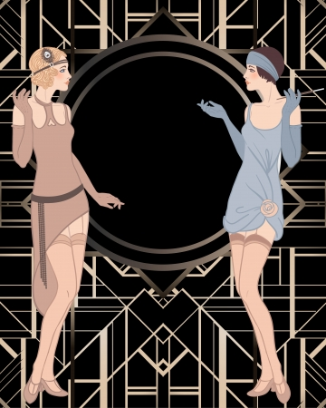 フラッパー女の子: レトロなパーティーの招待状のデザイン。ベクトル イラスト。  イラスト・ベクター素材