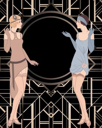 파리채 소녀 : 레트로 파티 초대장 디자인. 벡터 일러스트 레이 션. 일러스트