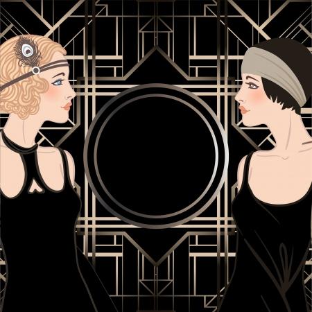 '20s': Flapper girl: Retro party invitation design. Vector illustration.