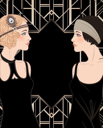 Flapper girl: Retro party invitation design. Vector illustration.