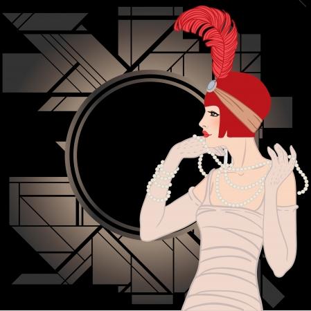 Flapper Mädchen: Retro-Partyeinladung Design. Vektor-Illustration.
