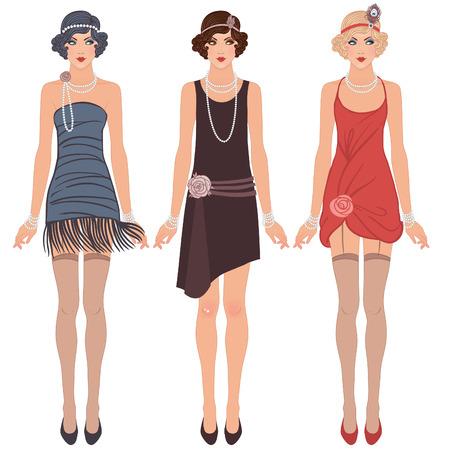 flapper: Muchachas de la aleta establecen: tres hermosas mujeres j�venes de la d�cada de 1920 en diferentes vestidos
