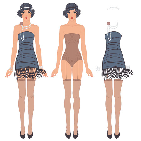 flapper: Chica de la aleta: Diseño retro del partido. Ilustración del vector. Vestido lindo de la muñeca del papel. Plantilla del cuerpo, equipo y accesorios