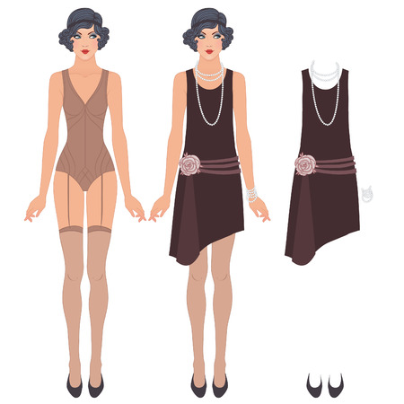 Flapper girl: Retro party design. Vector illustration. Cute dress up paper doll. Body template, outfit and accessories