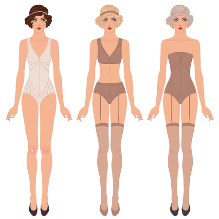 Flapper girl: Retro party invitation design. Vector illustration. Cute dress up paper doll. Body template, underwear.