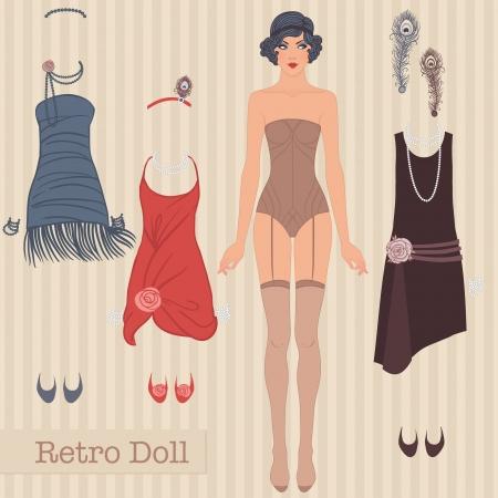 Flapper Mädchen: Retro Partei Design. Vektor-Illustration. Nettes Kleid Puppe aus Papier. Körpervorlage, Ausstattung und Zubehör