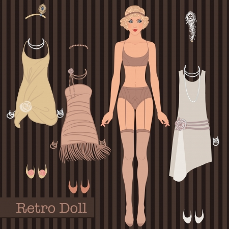 paper dolls: Flapper girl: Retro party design. Vector illustration. Cute dress up paper doll. Body template, outfit and accessories