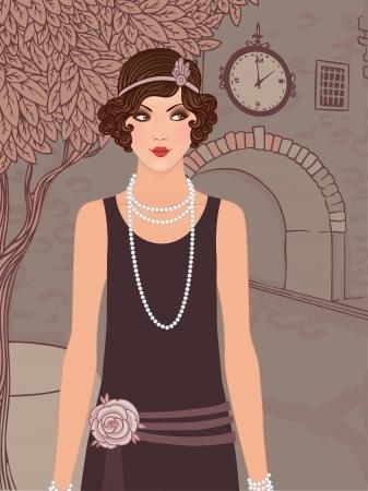flapper: Muchachas de la aleta establecen: vestidos de estilo de la mujer de la vendimia in1920s de pie en la calle del casco antiguo Vectores