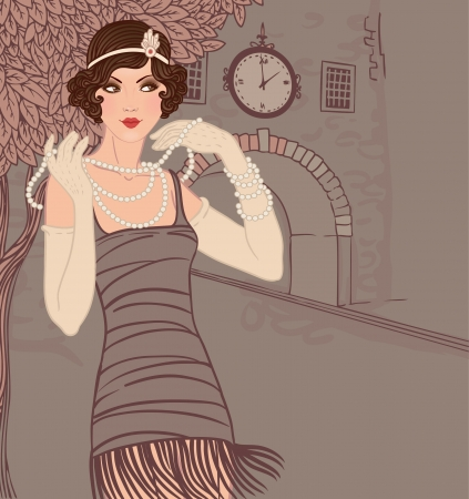 '20s': Flapper girls set: vintage woman in1920s style dresses standing on the street of old town