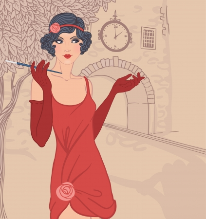 30s: Flapper girls set: vintage woman in1920s style dresses standing on the street of old town