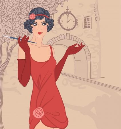 Flapper Mädchen gesetzt: Jahrgang Frau in1920s Stil Kleider, die auf der Straße in der Altstadt Illustration
