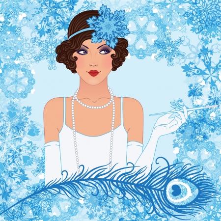 30s: Vintage Retro Christmas party invitation design. Vector illustration. Great Gatsby style.