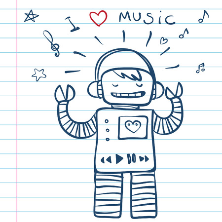 Music Robot. Vector Illustration from funny doodles set  Vector