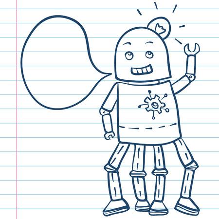 talking robot: Hablar Robot. Ilustraci�n vectorial de Doodles divertidos fijados