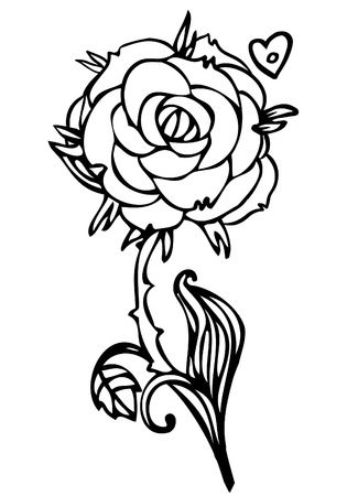 rose tattoo: Black and white line drawing of rose flower, tattoo design sketch