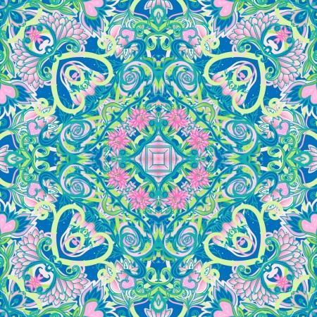 Squared ornamental floral paisley pattern. Good design for bandanna, carpet, shawl, pillow or cushion Reklamní fotografie - 24625201