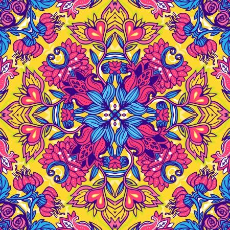 Squared ornamental floral paisley pattern. Good design for bandanna, carpet, shawl, pillow or cushion