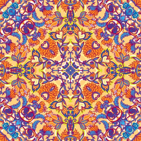 Squared ornamental floral paisley pattern. Good design for bandanna, carpet, shawl, pillow or cushion
