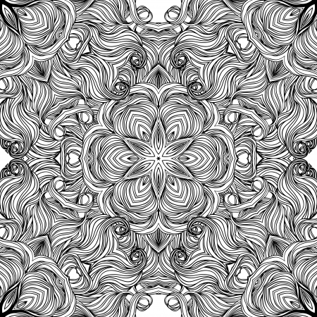 Mandala: Circle pattern, ornamental vector black round lace  Vector