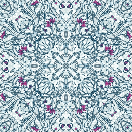 flower structure: Squared ornamental floral paisley pattern. Good design for bandanna, carpet, shawl, pillow or cushion