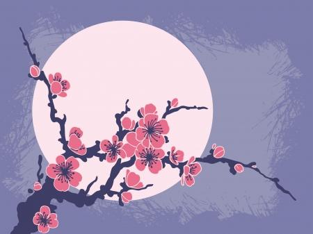 grunge shape: Sakura Branch against the sun. Vector background.