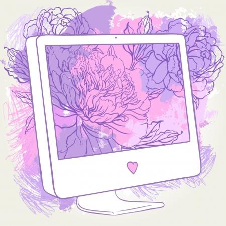 screen print: Hand-Drawn Computer Display.  Sketchy  Doodles with Flower Design. Vector Illustration for online flower shop or women portal. Illustration