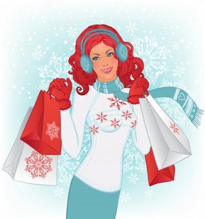 redhead woman: Acquisto di inverno: Bella donna rossa con sacchetti di shopping di Natale su sfondo vettoriale con fiocchi di neve. Vettoriali