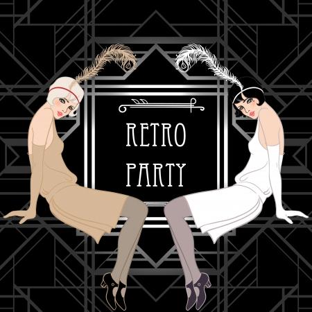 Flapper girl: Retro party invitation design. Vector illustration. Great Gatsby style.