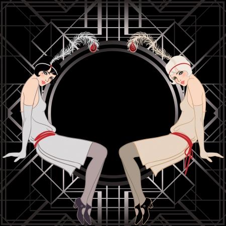 flapper: Chica de la aleta: Dise�o retro de la invitaci�n del partido. Ilustraci�n del vector. El gran estilo Gatsby.
