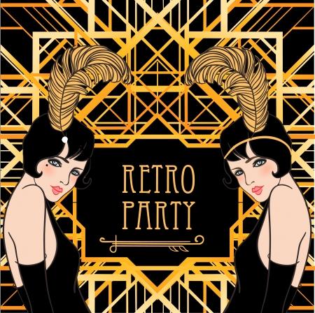 Flapper Mädchen: Retro-Partyeinladung Design. Vektor-Illustration. Great Gatsby-Stil.