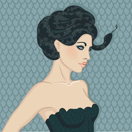 snake year: Portrait of pretty girl with snake hair. Symbol of 2013 new year of snake. Vector Illustration.