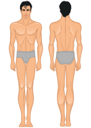 Le modèle complet du corps debout longueur de jeune Arabe ou Latino de type homme: avant et arrière Banque d'images - 24625282