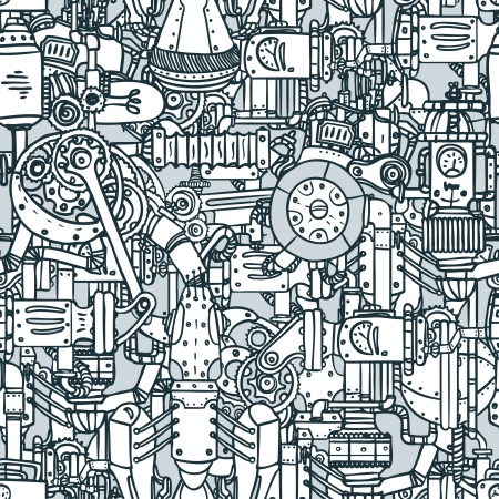 machine: Steampunk black and white seamless vector pattern