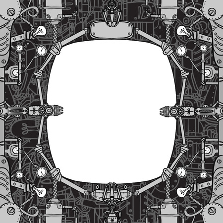 industrial robots: Steampunk vintage mechanical frame, vector art Illustration