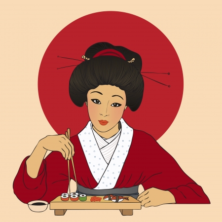 Traditional japanese pretty girl enjoy sushi. Vector illustration. Menu template  Vector