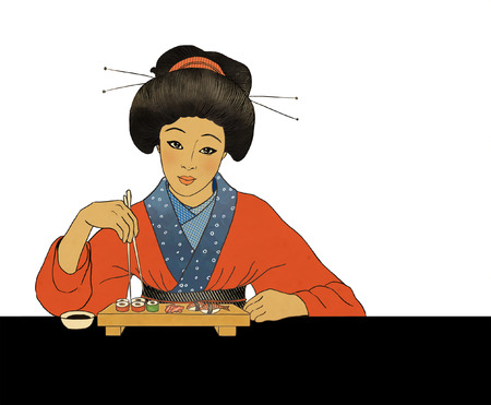 Traditional japanese girl enjoy sushi Vector