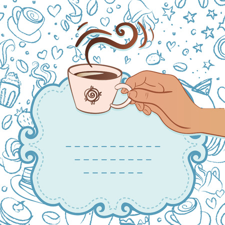 Tea party invitation vintage style frame with hand holding cup of coffee. Vector illustration.  Vector